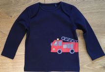 NEXT NAVY FIRE ENGINE PRINT TOP 1m, 3-6m & 12-18m